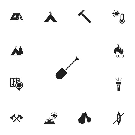 Set Of 13 Editable Camping Icons. Includes Symbols Such As Handle Hit, Blaze , Shelter. Can Be Used For Web, Mobile, UI And Infographic Design.