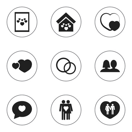 Set Of 9 Editable Heart Icons. Includes Symbols Such As Jewelry, Proclamation, Shape And More. Can Be Used For Web, Mobile, UI And Infographic Design.