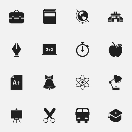 graduation countdown: Set Of 16 Editable School Icons. Includes Symbols Such As Earth Planet, Jingle, Transport Vehicle And More. Can Be Used For Web, Mobile, UI And Infographic Design.