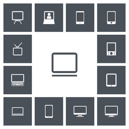 Set Of 13 Editable Instrument Icons. Includes Symbols Such As Screen, Tv, Clavier And More. Can Be Used For Web, Mobile, UI And Infographic Design.