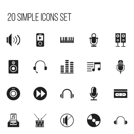 Set Of 20 Editable Music Icons. Includes Symbols Such As Mp3 Player, Volume, Media Interview And More. Can Be Used For Web, Mobile, UI And Infographic Design. Illustration