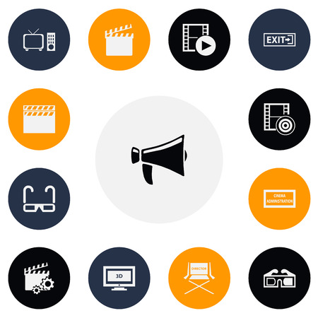 film industry: Set Of 13 Editable Cinema Icons. Includes Symbols Such As Shooting Seat, Film Spectacles, Bullhorn And More. Can Be Used For Web, Mobile, UI And Infographic Design.