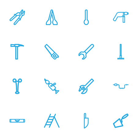 Set Of 16 Editable Apparatus Outline Icons. Includes Symbols Such As Saw, Press Instrument, Screwdriver And More. Can Be Used For Web, Mobile, UI And Infographic Design. Illustration