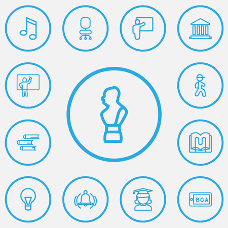 Set Of 13 Editable Teach Outline Icons. Includes Symbols Such As Bust, Ring, Lesson And More