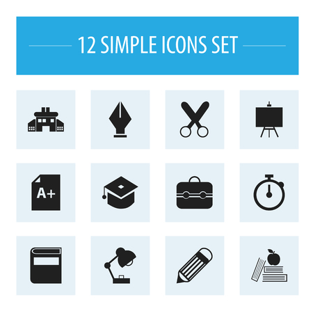 nib: Set Of 12 Editable Knowledge Icons.