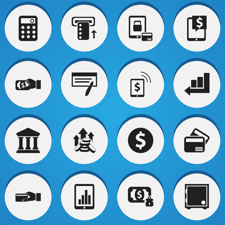 Set Of 16 Editable Banking Icons.