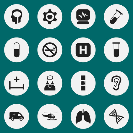 Set Of 16 Editable Health Icons. Includes Symbols Such As Intelligence, Clinic Room, Test Tube And More. Can Be Used For Web, Mobile, UI And Infographic Design.  イラスト・ベクター素材