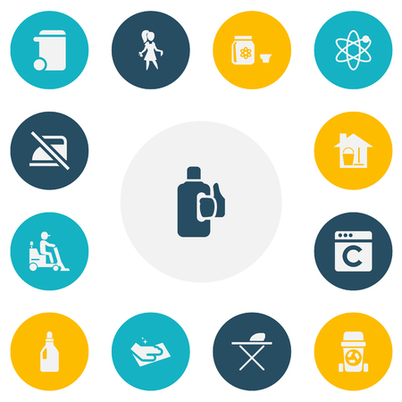 Set Of 13 Editable Hygiene Icons. Includes Symbols Such As Pressboard, Laundry Detergent, Towel And More. Can Be Used For Web, Mobile, UI And Infographic Design. Ilustração