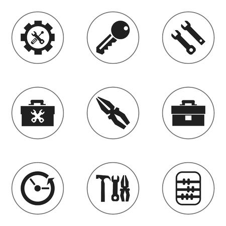 Set van 9 bewerkbare toolkit pictogrammen. Bevat symbolen zoals toegang, tijd, portfolio en meer. Kan worden gebruikt voor Web, Mobile, UI en Infographic Design.