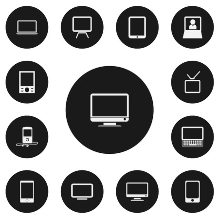 Set Of 13 Editable Instrument Icons. Includes Symbols Such As Screen, Laptop, Tablet Phone And More. Can Be Used For Web, Mobile, UI And Infographic Design.