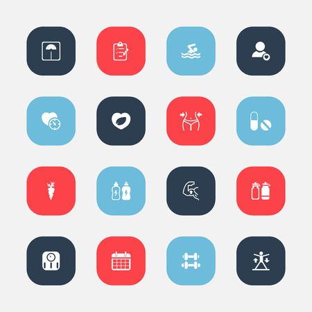 Set Of 16 Editable Sport Icons. Includes Symbols Such As Leaf In Heart, Pill, Root Vegetable And More. Can Be Used For Web, Mobile, UI And Infographic Design.
