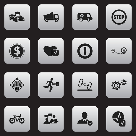 heart monitor: Set Of 16 Editable Complicated Icons. Includes Symbols Such As Coins, Navigation, Bicycle And More. Can Be Used For Web, Mobile, UI And Infographic Design. Illustration