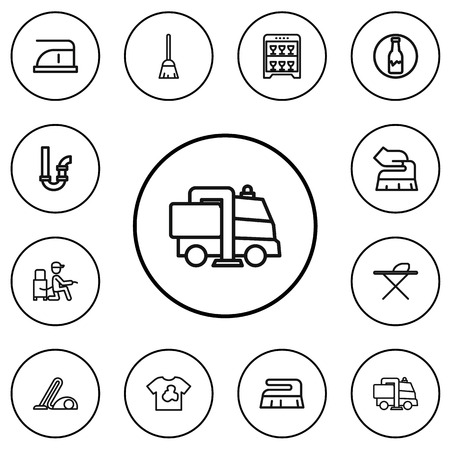 Set Of 12 Editable Hygiene Outline Icons. Includes Symbols Such As Dust, Badge, Metal Board And More Illustration