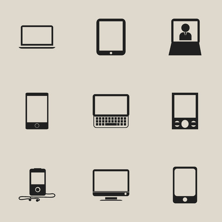 Set Of 9 Editable Instrument Icons. Includes Symbols Such As Clavier, Tablet Phone, Music Phone And More