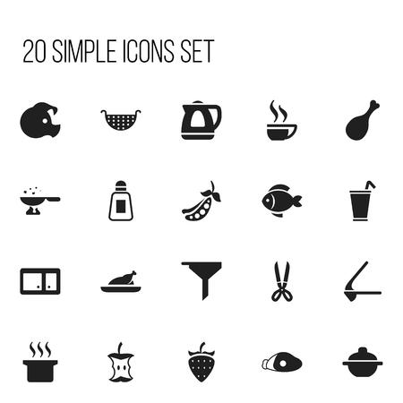 Set de 20 iconos editables de cocina. Incluye símbolos como mariscos, tetera, trozo y más Foto de archivo - 85985140