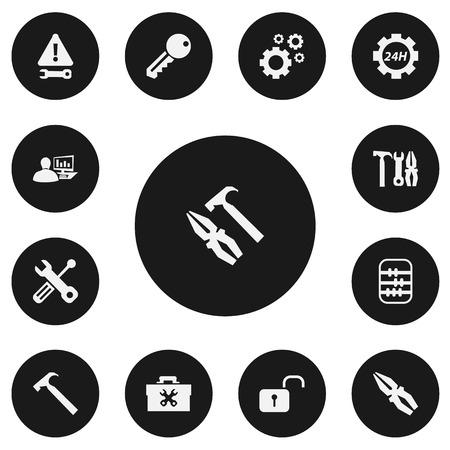 Set van 13 bewerkbare monteur pictogrammen. Bevat symbolen zoals onderhoud, tandwielen, handgreep hit Stockfoto - 85985196