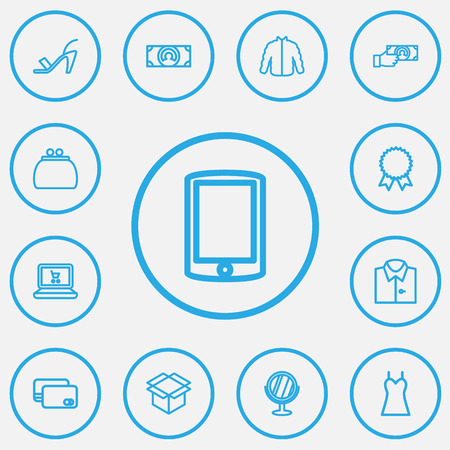 smartphone: Set Of 13 Editable Business Outline Icons. Includes Symbols Such As Smartphone, Blouse, Box Clear And More