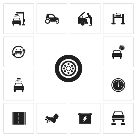 garage: Set Of 13 Editable Car Icons. Includes Symbols Such As Mechanic, Repair, Transport Clean And More Illustration