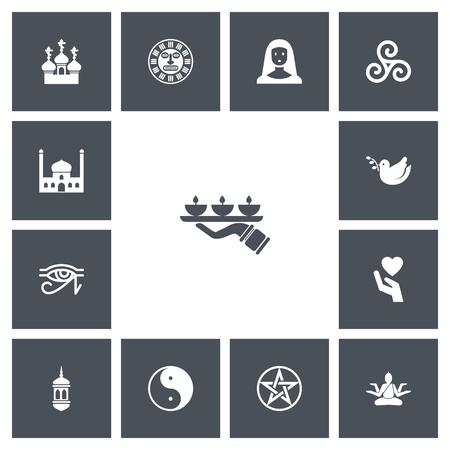 Ensemble de 13 icônes de religion modifiables. Comprend des symboles tels que la lumière des bougies, Pigeon, Egypte Dieu Banque d'images - 86147426