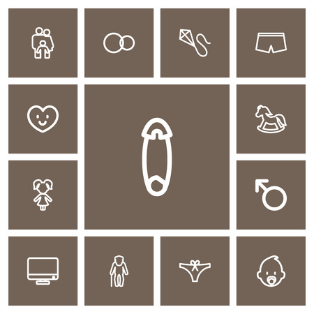 Set Of 13 Editable Kin Outline Icons