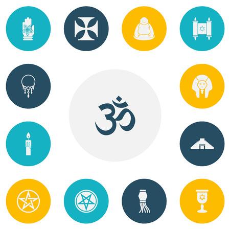 Set Of 13 Editable Religion Icons Stock fotó - 86147470