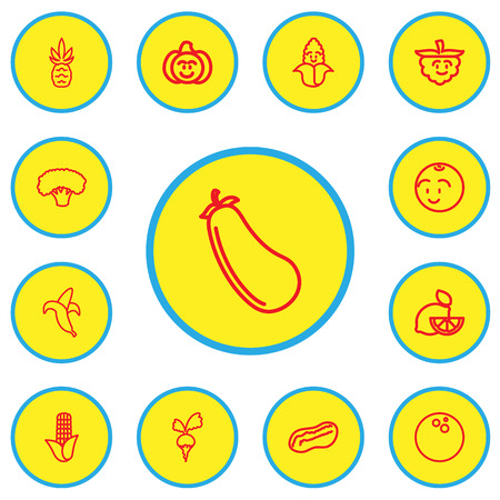 Set Of 13 Editable Kitchenware Outline Icons. Includes Symbols Such As Radish, Cocos, Lemon And More Illustration