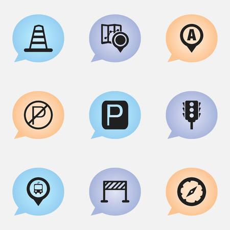 Set van 9 bewerkbare richting iconen. Bevat symbolen zoals magneetnavigator, barrière, markering en meer Stock Illustratie