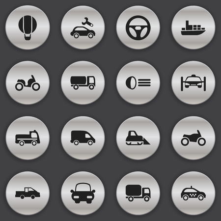 luminary: Set Of 16 Editable Transport Icons. Includes Symbols Such As Luminary, Washing Auto, Airship And More Illustration