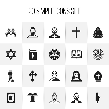 Set Of 20 Editable Dyne Icons. Includes Symbols Such As Pope Headwear, Hexagram, Pope And More.