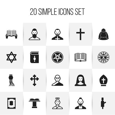 Set von 20 bearbeitbaren Dyne Icons. Enthält Symbole wie Papst Headwear, Hexagramm, Papst und mehr. Standard-Bild - 86147590