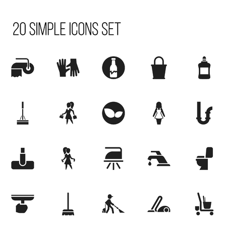 Set Of 20 Editable Hygiene Icons. Includes Symbols Such As Flatiron, Chores, Housekeeping Cart And More.
