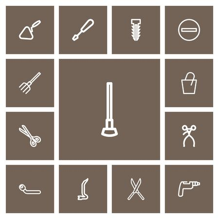 Set Of 13 Editable Tools Outline Icons. Includes Symbols Such As Minus, Shear, Tool And More. Illustration