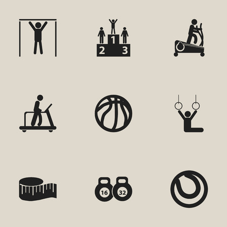 Set Of 9 Editable Healthy Icons. Includes Symbols Such As Cloth Ruler, Basket Play, Executing Running And More.