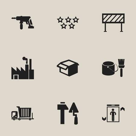construction: Set Of 9 Editable Construction Icons. Includes Symbols Such As Barrier, Electric Screwdriver, Bogie And More. Illustration