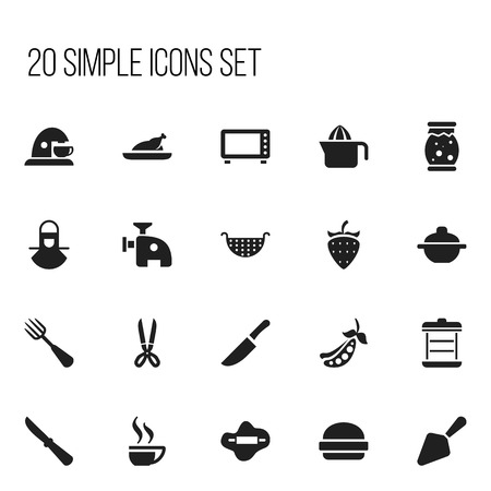 Set Of 20 Editable Food Icons. Includes Symbols Such As Shears, Peas, Homemade Jelly And More.