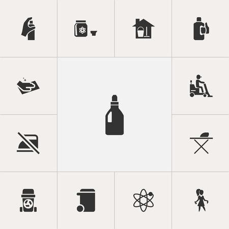 Set Of 13 Editable Cleaning Icons. Includes Symbols Such As Pressboard, Hazard, Power And More.