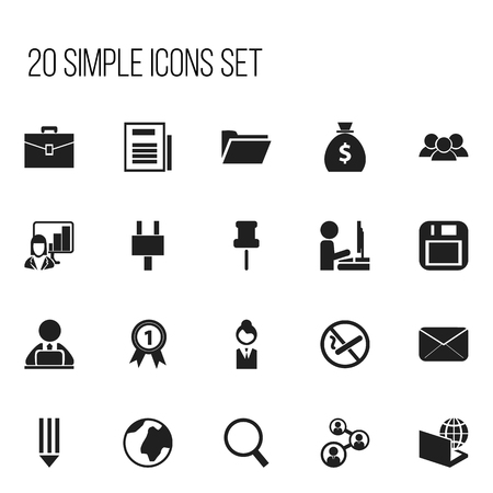 Set Of 20 Editable Office Icons. Includes Symbols Such As Loupe, Staff, Workman In Laptop And More.