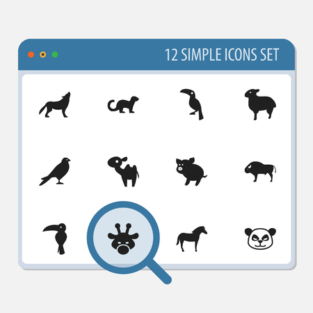 Set Of 12 Editable Animal Icons. Includes Symbols Such As Wolf, Horse, Eagle And More.  イラスト・ベクター素材