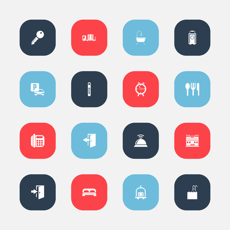 mobile communication: Set Of 16 Editable Plaza Icons. Includes Symbols Such As Pool, Luggage, Baggage And More.