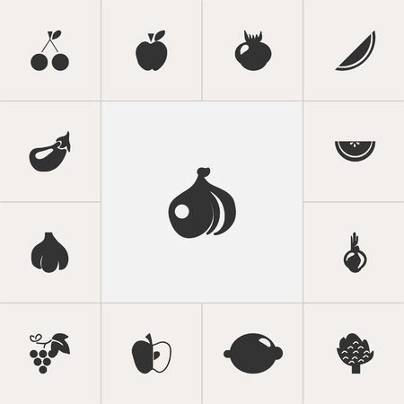 Set Of 13 Editable Berry Icons. Includes Symbols Such As Allium, Lime, Cantaloupe And More. Illustration