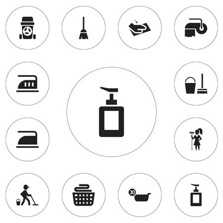 Set Of 12 Editable Cleaning Icons. Includes Symbols Such As Clean Clothings, Towel, Toilet Paper And More Illustration