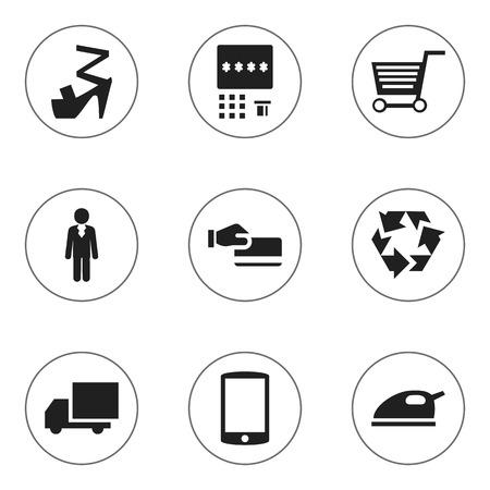 mujer en el supermercado: Set Of 9 Editable Business Icons. Includes Symbols Such As Disbursement, Stiletto, Reuse And More Vectores