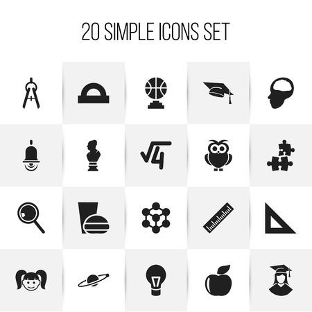 Set van 20 bewerkbare wetenschapspictogrammen. Bevat symbolen zoals afgestudeerd vrouw, decoupeerzaag, alarmbel en meer