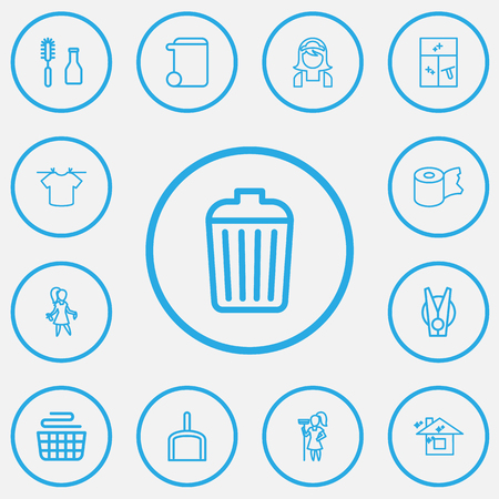 Set Of 13 Editable Hygiene Outline Icons. Includes Symbols Such As Garbage Bin, Trash Can, Tools And More