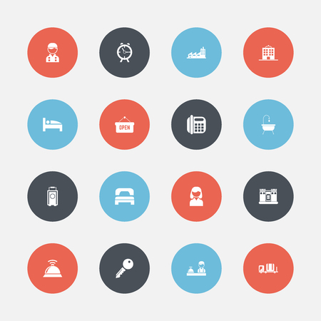unblock: Set Of 16 Editable Plaza hotel  Icons. Includes Symbols Such As Opened Placard, Bearings, Unblock Access And More