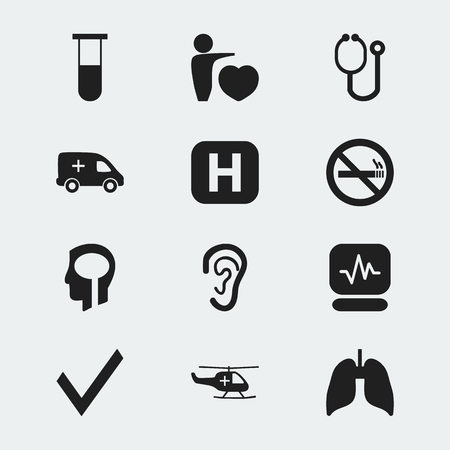 Set Of 12 Editable Health Icons. Includes Symbols Such As Intelligence, Mark, Emergency And More