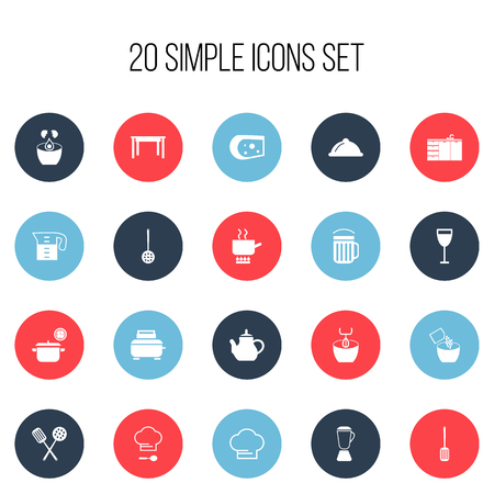 Set Of 20 Editable Cooking Icons. Includes Symbols Such As Saucepan, Cheddar, Teapot And More Illustration