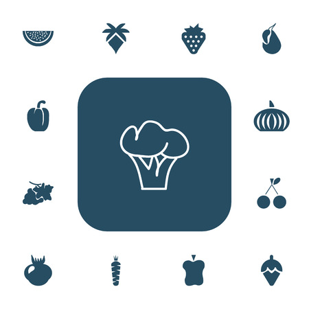 Set Of 13 Editable Berry Icons. Includes Symbols Such As Morello, Gourd, Berry And More Çizim