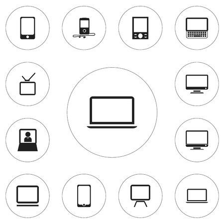 12編集可能なガジェットのアイコンのセット。画面、コンピュータ、モニタなどの記号が含まれています
