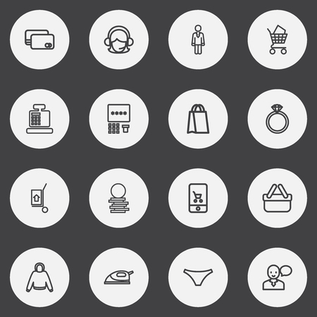Set Of 16 Editable Business Outline Icons. Includes Symbols Such As Jewel, Hoodie, Panties And More 向量圖像